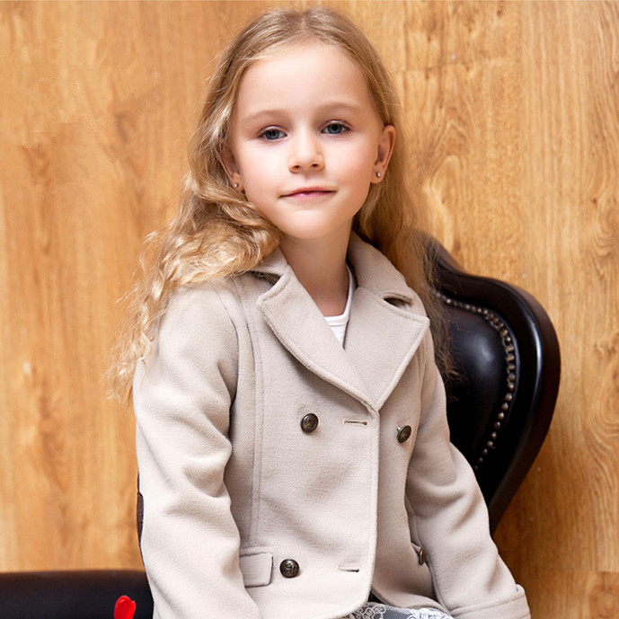 Cute! Little Girls Patched Blazer Toddler Woolen Coats Baby Girls Breasted Coats 2~7Y Girls Fashion Ourwear Red Jackets for Girl