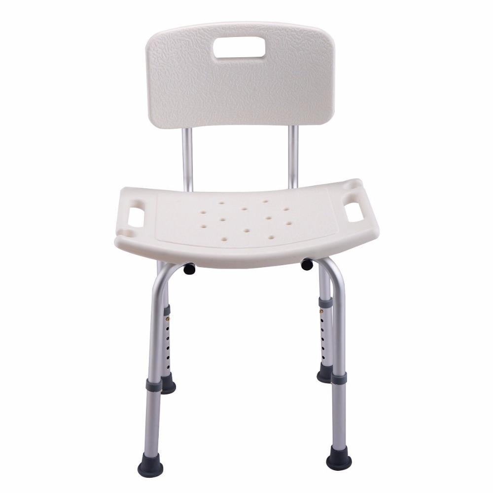 Goplus 6 Height Adjustable Bath Shower Chair Medical Seat Stool Bath Tub Elderly Pregnant Anti-skid Bathing Chair BA7151