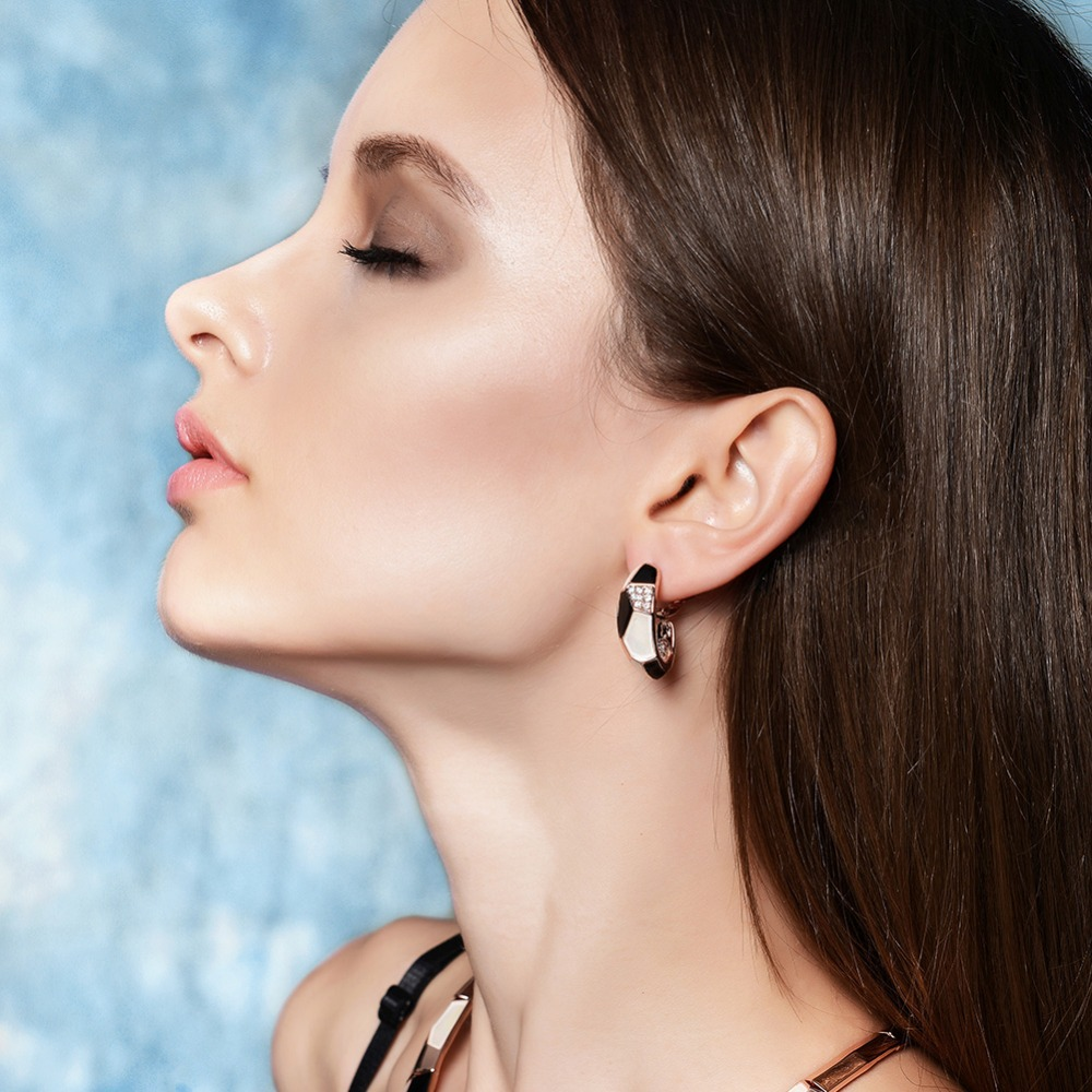Us 13 9 Aliexpress Viennois Fashion Jewelry Rose Gold Color Hoop Earrings Austrian Rhinestone Black And White For Woman Summer