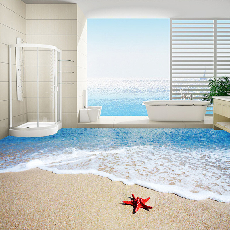 Custom Floor Wallpaper 3D Wall Mural Beach Sea Wave Starfish Kitchen Self  Adhesive Wall Paper Waterproof