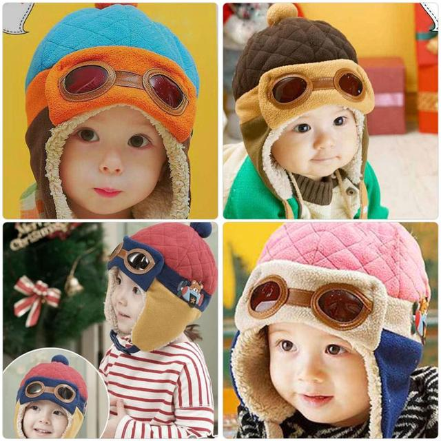 6a2db2063 US $3.3 16% OFF|Winter Warm Toddler Cool Baby Pilot Hat Aviator Cap For  Baby Boy Girl Infant Ear Flap Soft Hat Beanies Baby Winter Hat-in Hats &  Caps ...