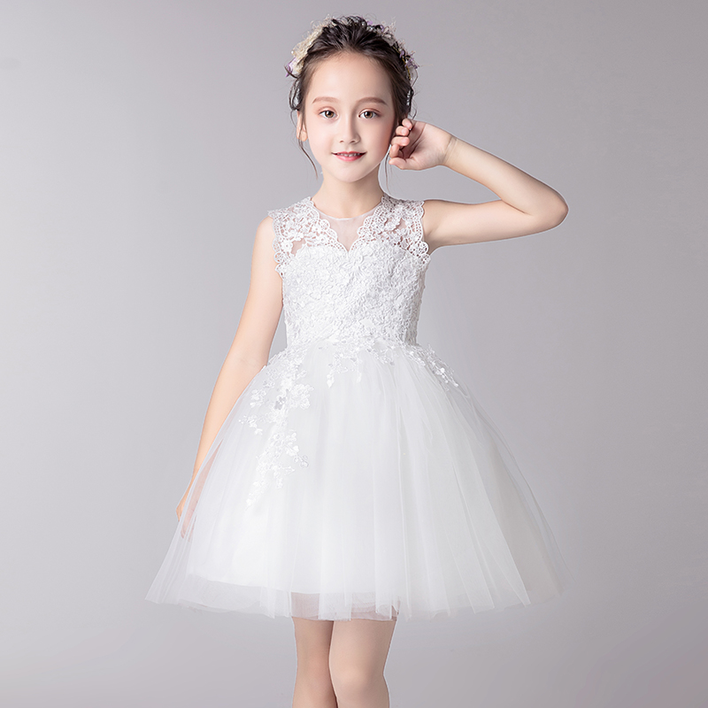 New Flower Girls White Lace Dresses For New Year Clothes Party Baby Girls Princess Wedding Dress Children Party Vestido Infantil children girls dress summer lace sleeveless holiday party wedding princess a line dresses girl clothes vestido infantil 2968w