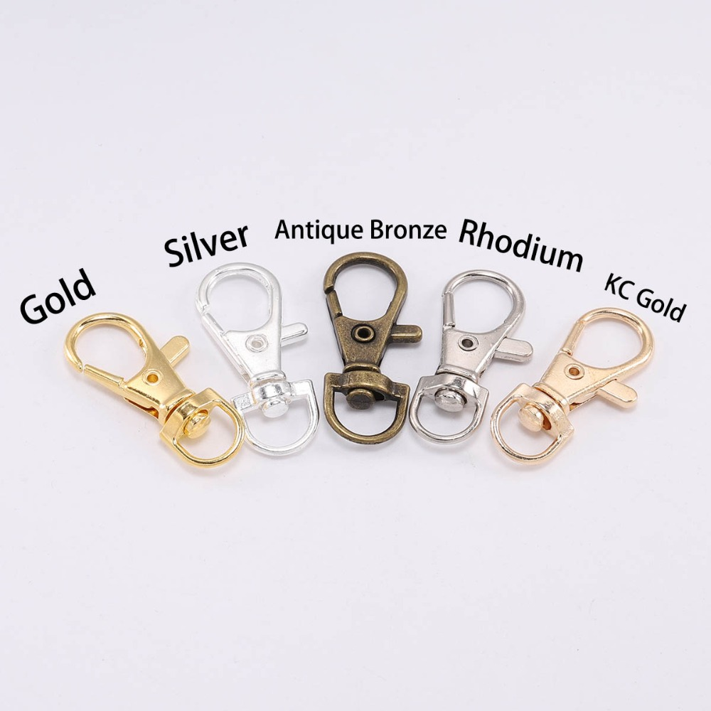 10pcs lot Gold Silver Split Key Ring Swivel Lobster Clasp Connector For Bag Belt Dog Chains DIY Jewelry Making Findings in Key Chains from Jewelry Accessories