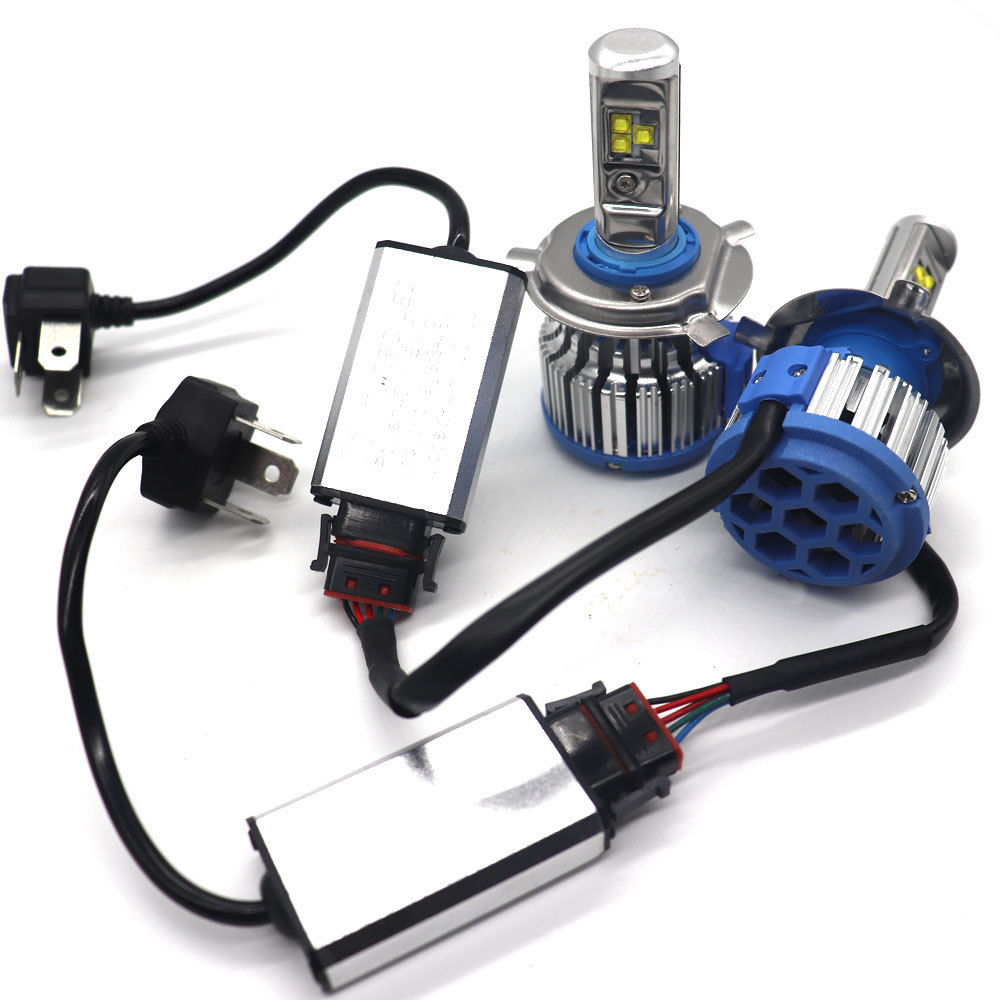 Fuleem 2PCS T1 H4 HB2 9003 H7 H11 H8 <font><b>H9</b></font> Turbo <font><b>LED</b></font> <font><b>Canbus</b></font> Headlight Fog Conversion Kit Hi Lo 80w 6000k White Waterproof image