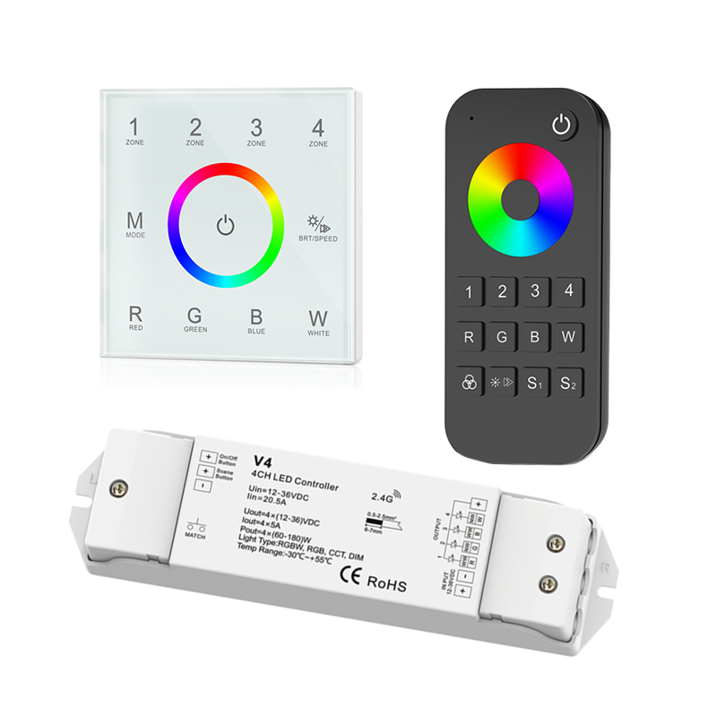 Led RGBW strip controller 2.4 GHz RF Afstandsbediening Draadloze Muur touch panel T14 5A * 4CH V4 CV ontvanger RT9 draadloze Afstandsbediening RGB Controle
