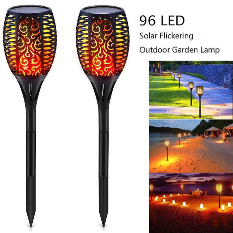 Led Landscape Lights Flickering: LED Solar Flame Lamps Outdoor Flame Flickering Torch