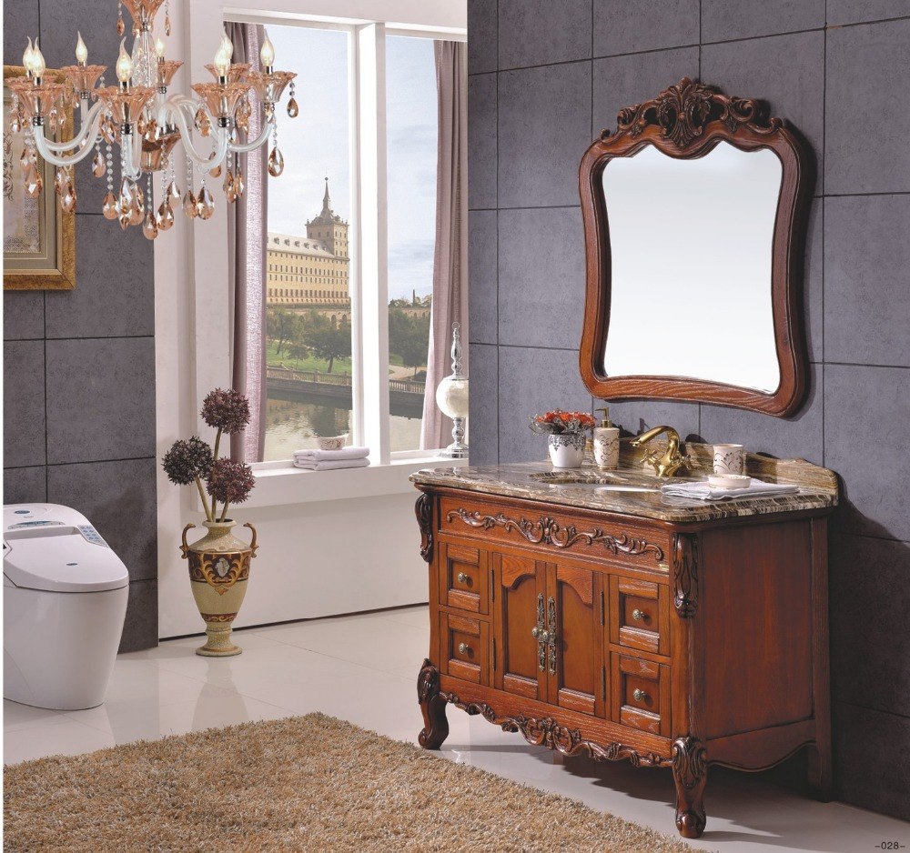 European Design Classical Style Solid Rubber Wood Bathroom Cabinet  0281 B 8621