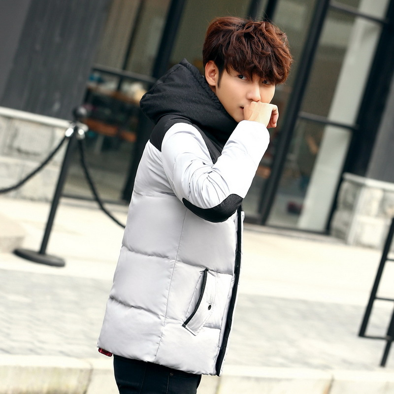 winter men's hooded   down   jackets fashion Color patchwork Thick white duck   down     coat   male Breathable windproof warm outwear Top