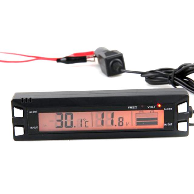 3 em 1 Car Auto Digital Termômetro Relógio Voltímetro Volt Monitor de Temperatura 12 V 24 V Ao Ar Livre Indoor LCD Laranja Backlight