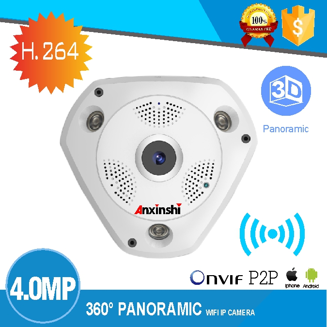 PoE HD FishEye IP camera wi-fi 4MP 360 Degree Mini WiFi Camera  Network Home Security Camera Panoramic IR Surveillance Camera wi fi адаптер sat integral 1210 hd в киеве