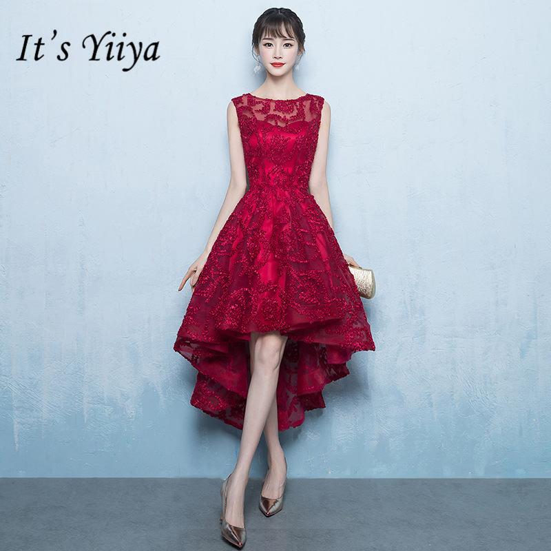 It's YiiYa New Wine Red Beading Cocktail Dress Embroidery Tea-Length Formal Dress Party Gown JLM001