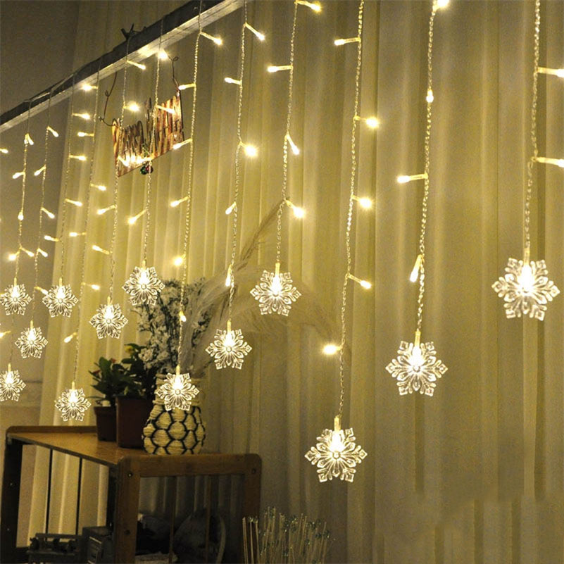 ᐂNeige Forme LED Rideau Cha ne 5 M 216 Leds 36 Lignes de Chute Fée