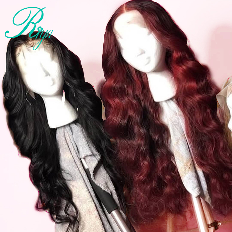 13X6 Brazilian Body Wave Lace Front Human Hair Wig 1B 99j Red Color Ombre Lace Frontal