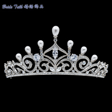 Women Austrian Crystals Rhinestone Pearl Tiara Wedding Crown Bridal Hair Jewelry Accessories Pageant SHA8750