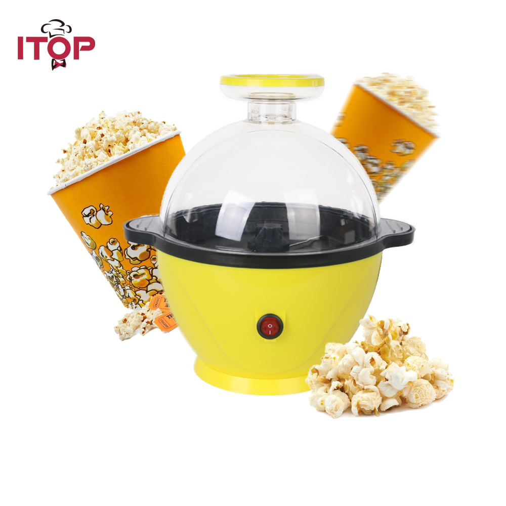 ITOP Electric Popper Household Mini Hot Air Popcorn Maker Popcorn Machine For Home Kitchen Kids Yellow pop 08 commercial electric popcorn machine popcorn maker for coffee shop popcorn making machine