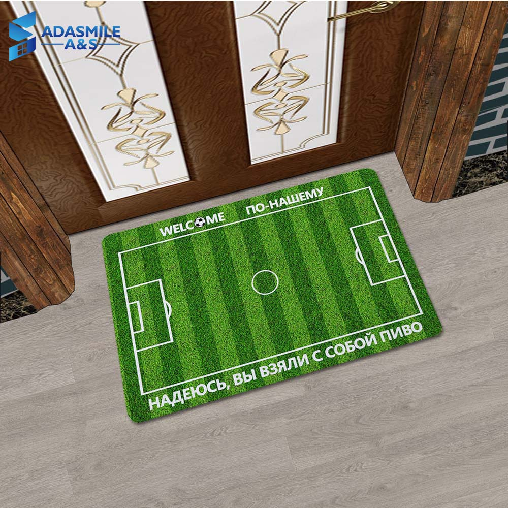 45*70cm Rubber Football Soccer Field Entrance Indoor Doormat Hallway Mats Russia Languages Anti-slip Bath Kitchen Mat 3mm Thick