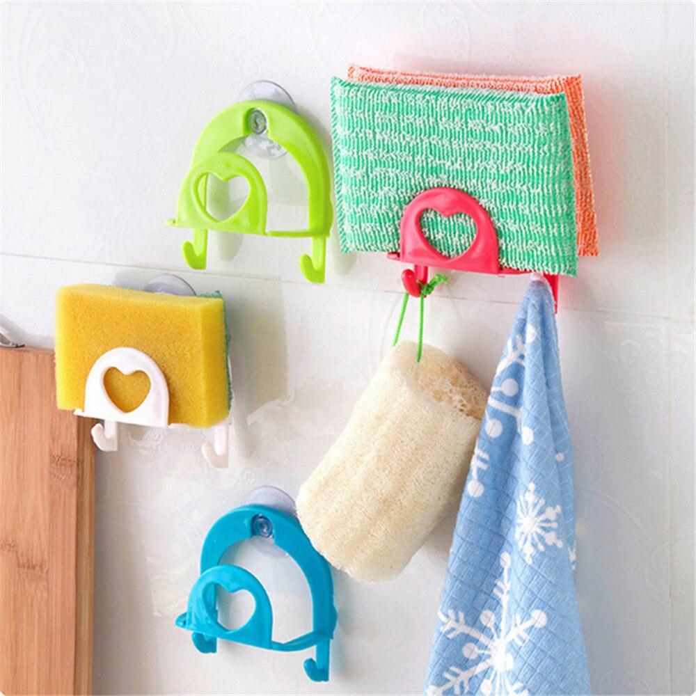 1pc Shelf Towel Soap Dish Holder Kitchen Sink Dish Sponge Storage Holder Rack Robe Hooks Sucker  Hooks