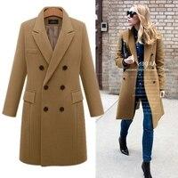 b Autumn Winter Coat Women Casual Wool Solid Jackets Blazers Female Elegant Double Breasted Long Coat Ladies Plus Size M 5XL