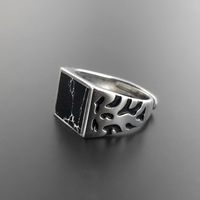 Natural Black Onyx Square Stone Sterling Silver Mens Ring Wide Band Vintage 925 Sterling Silver Jewelry Cool Men Cuff Ring Gifts