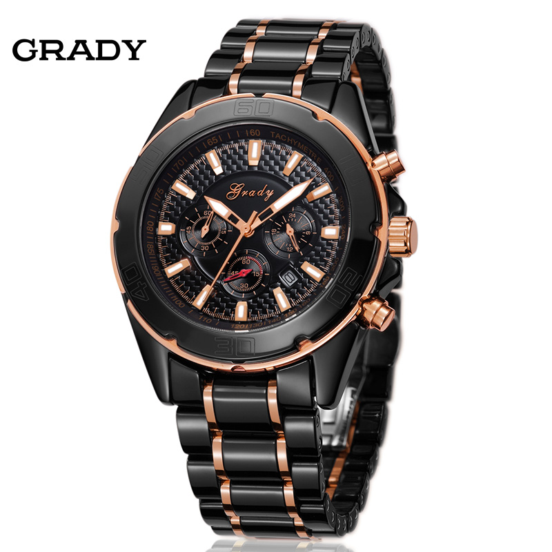 online buy whole mens black ceramic watch from mens grady new arrival big round dial black ceramic watches men luxury brand 3atm waterproof sports quartz