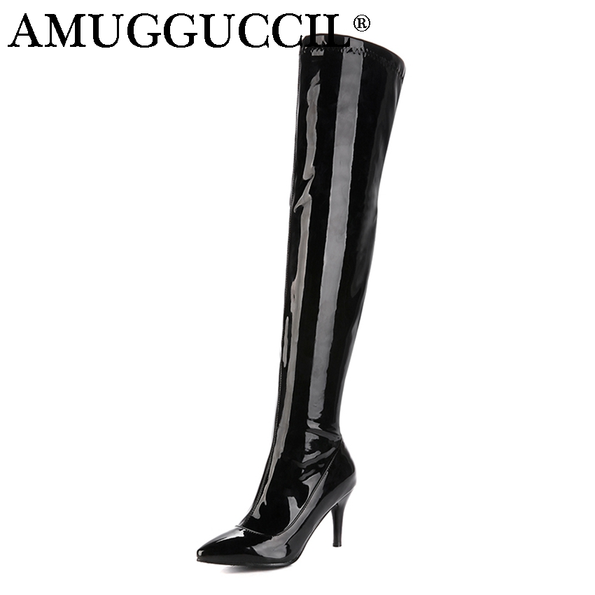 2018 New Arrival Plus Big Size 32-46 Black Red White Zip High Heel Sexy Over The Knee Thigh High Autumn Winter Women Boot X1643
