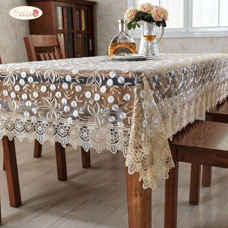 Proud Rose Lace Round Table Cloth Embroidered Table Cover Sofa Towel Decoration Tablecloth TV Ark Cover Towel Customed