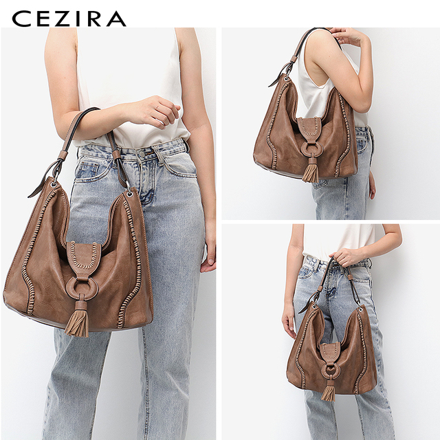 CEZIRA Fashion Vegan Leather Top-handle Bags Female Tote Shoulder Bags Ladies Large Hand Bags Tassel Flap Women Casual Hobo Bags 1