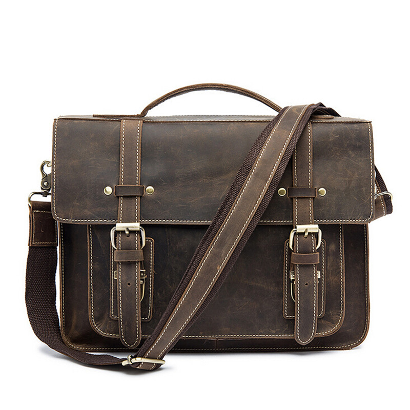 Crazy Horse Genuine Leather Bag Men Vintage Messenger Bags Casual Business Shoulder Crossbody Bags Men's Tote Laptop Briefcases casual canvas women men satchel shoulder bags high quality crossbody messenger bags men military travel bag business leisure bag