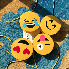 Girl Mini Cartoon Crossbody Cute Emoji Shoulder PU Messenger Bag Girls Kids Small Round Satchel Handbags for Children Gift