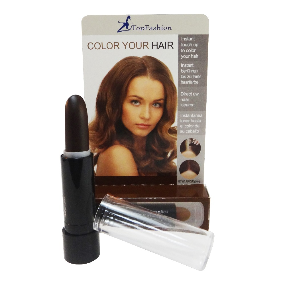 Dark Brown Cosmetic Temporary Touch Up Hair Stick Meet FDA EEC Regulation TOPFASHION Makeup Cover Gray Hair Color (802H)