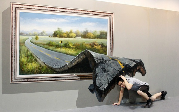 3d Wall Painting Hand painted Highway Road Out of Pictures Oil Painting  Living Room Wall Picture