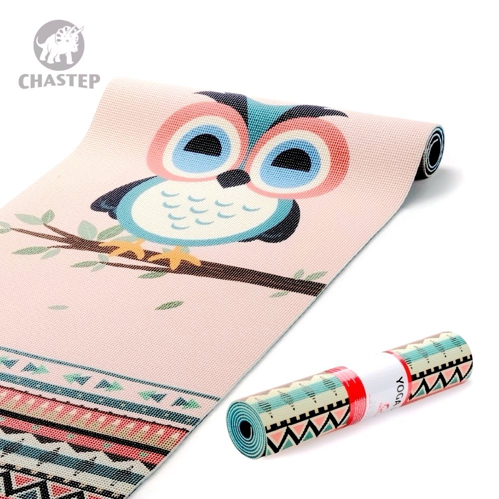 Chastep Folding Naturlig PVC Yoga Mat Miljøvenlig Slip-resistent Hot Yoga Bedste Yoga Mat til Hot Yoga Fitness Gym Mat Night Owl