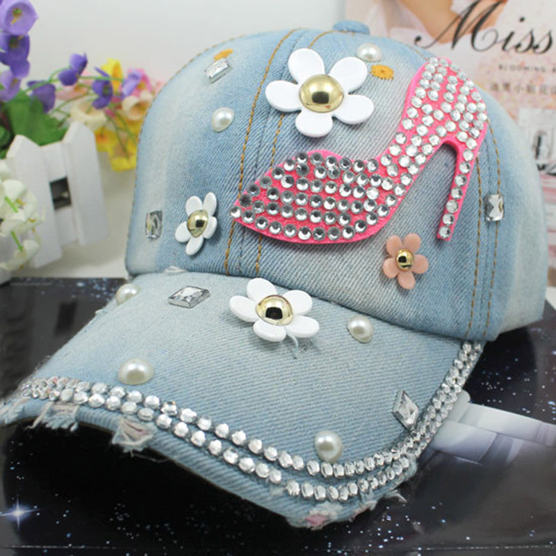 ladies baseball caps with bling cute lady rhinestone font denim hat vintage womens hats