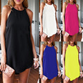 5 Color 2017 Sexy Women Summer Dress O-Neck Sleeveless Off the Shoulder Plus Size Casual Loose Mini Short Dresses Vestidos