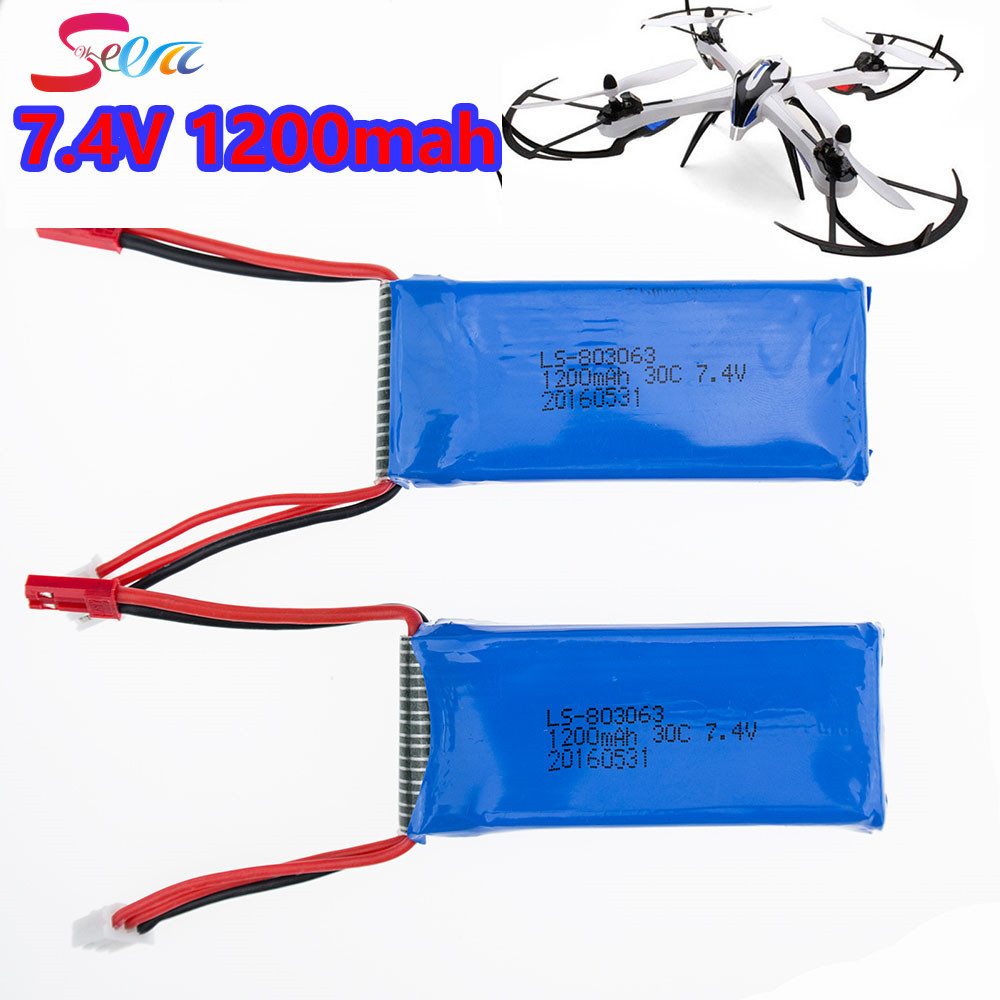 2PCS 7.4V 1200mAh Battery For YiZhan Tarantula X6 WLTOYS V262 V333 JJRC X1 H16 Li-po Battery Brushless RC Quadcopter X101 MJX 1pc 7 4v 1000mah li po battery for wltoys v262 v333 v353 v912 v915 ft007 devo4 mjx x600 rc helicopter hot sale