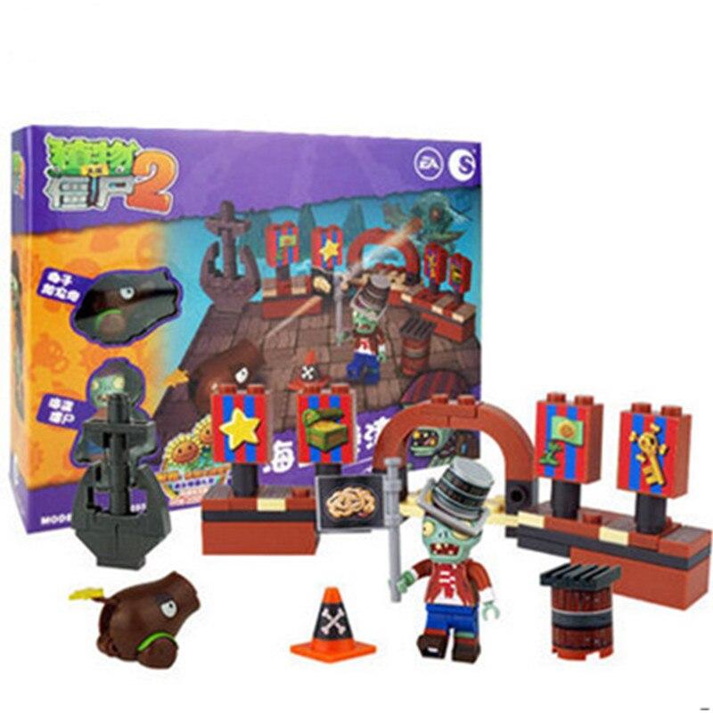 Купить с кэшбэком 387pcs new ideas plants vs zombies struck game Building Blocks set Toys Compatible block toys gift for children action