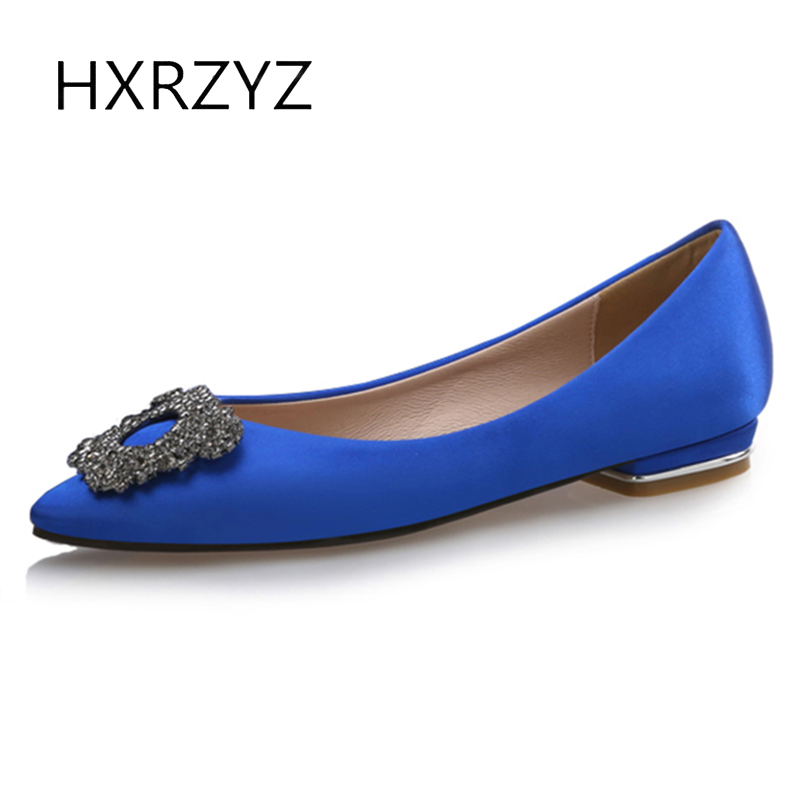HXRZYZ women flat shoes womens silk low heel pointed toe blue rhinestone black casual shoes spring/autumn 2017 new women shoes  2017 women lady shoes flat heel spring autumn boat pointed toe slip on casual simple mixed color pink yellow blue black red
