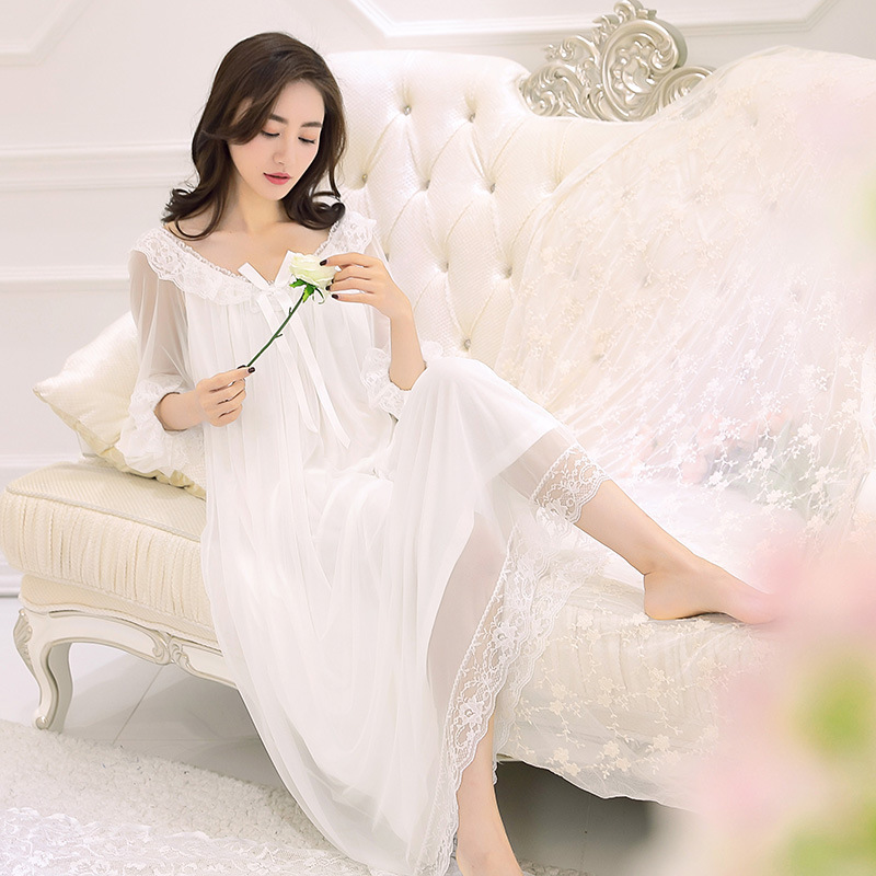 New Spring Spot Female Royal Style Vintage Lace   Nightgown     Sleepshirts   Wholesale Sexy Aesthetic Goddess Night Gown Nightdress
