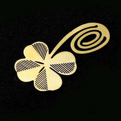 SOSW-Gold clover Bookmark sheet metal gift souvenir book reading various forms