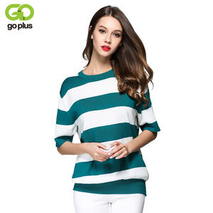 GOPLUS 2018 New Autumn Green White Striped Knitted Sweater Women Half  Sleeves Hit Color Thin Casual Top Slim Knitting Pullovers 498220f06
