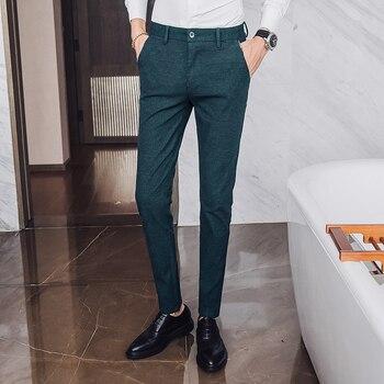 33ded7289f 2018 novedad pantalones casuales para hombre estilo inglés pantalones  ajustados para hombre largo recto negro caqui verde talla grande pantalones  para ...