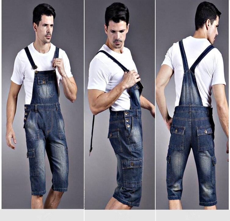 6a3b5885a458 Summer Men s Denim Overalls Rompers Plus Size Men Denim Suspenders Siamese Jeans  Overalls Shorts Denim Bib Pants