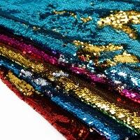 50*145 cm sirena con paillettes reversibile sequin tessuto della scala di pesci per Bambini Biancheria Da Letto home textile per Cucire Tilda bambola, 1Yc1944