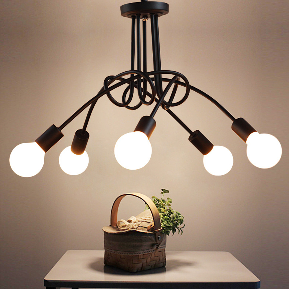 LED ceiling light 5 Heads American style retro design 35 W for dinning room sitting room bedroom or reading room novelty dimming led ceiling light for bedroom or switch with water drop style for dinning room or restaurant lighting lustre