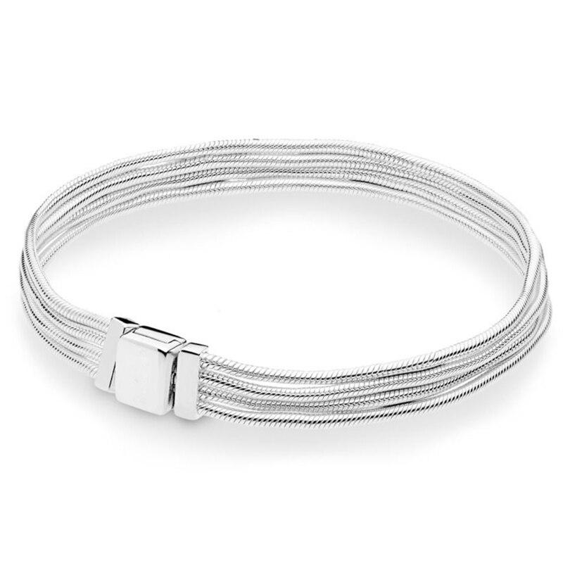 2019 nouveauté réflexions Multi serpent chaîne Bracelet 925 en argent Sterling multi-ligne Bracelet Bracelet Bracelet s'adapte à tous les charmes de réflexions