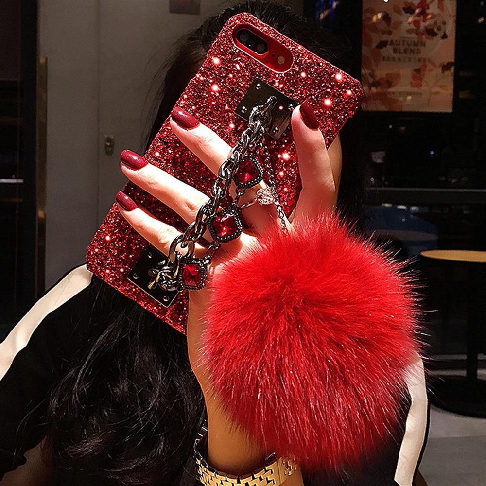 Для iPhone XS Max XR чехол Блестящий Роскошный сверкающий чехол с кристаллами браслет с драгоценными камнями цепь кисточкой лисий мех крышка шари...
