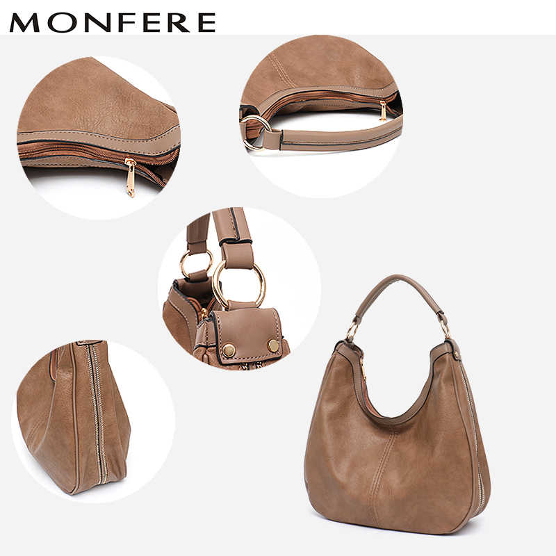 b41a951748e MONFERE Casual Large Womans Handbag Vegan Leather Tote Bag Fashion Daily  Shoulder&Cross body Bags Solid Big Capacity Hobo Bag