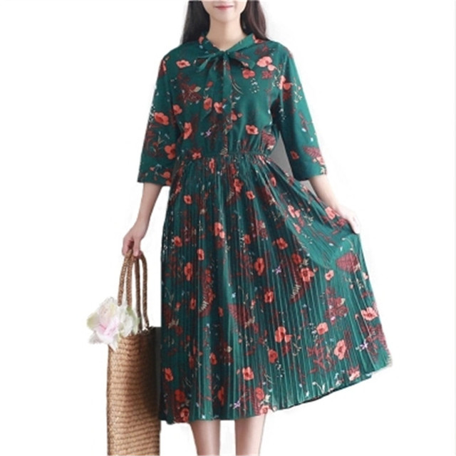 833931e44b4 Bow Collar Chiffon Dress Women Casual Vintage Green Flower Print Three  Quarter Sleeve Retro Spring Summer High Waist Dresses P10