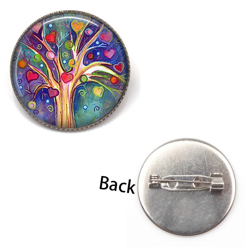 Retro tree of life brooch weeping willow religious life tree jewelry glass dome pendant female accessories holiday gift souvenir in Brooches from Jewelry Accessories