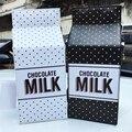 Bonito chocolate milk box forma personalidade senhoras da cadeia da moda carta aba bolsa de ombro mini saco do mensageiro bolsa white & black